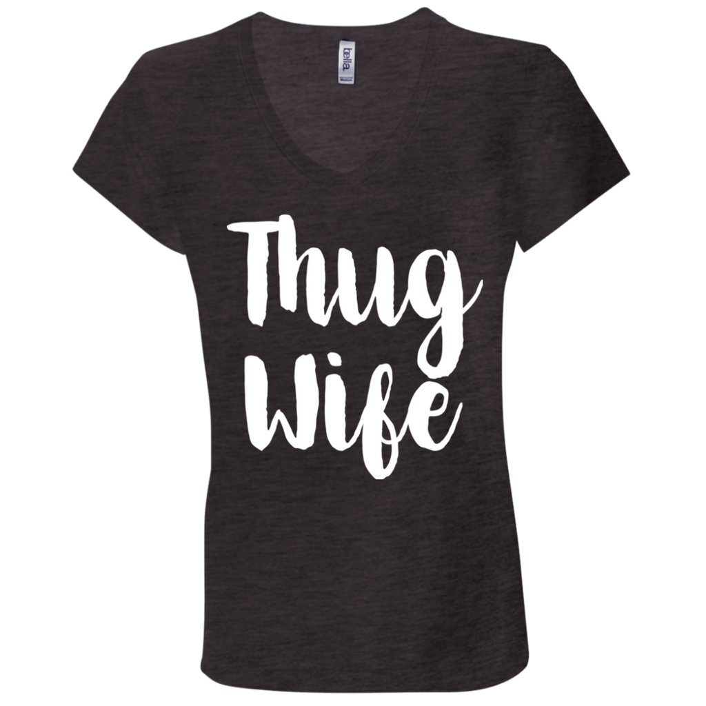 669 Thug Wife B6005 Bella + Canvas Ladies' Jersey V-Neck T-Shirt, T-Shirts, Whip Me Wear Fashion & T-Shirts