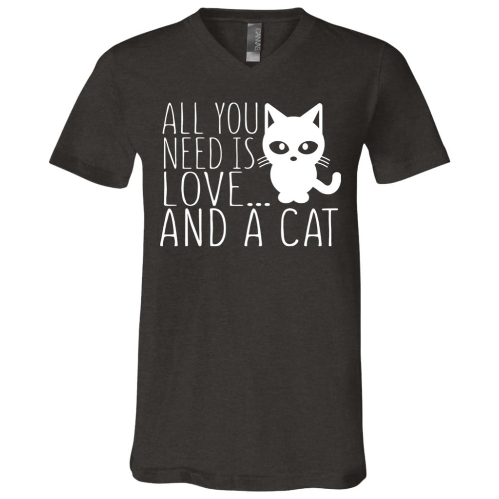89 Love And A Cat 3005 Bella + Canvas Unisex Jersey SS V-Neck T-Shirt, T-Shirts, Whip Me Wear Fashion & T-Shirts