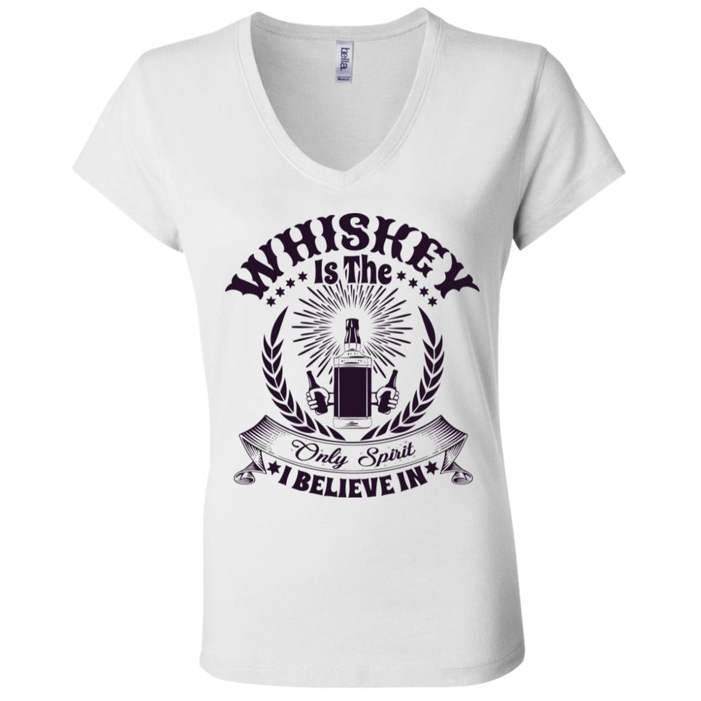 D1545 Whiskey Only Spirit B6005 Ladies' Jersey V-Neck T-Shirt, T-Shirts, Whip Me Wear Fashion & T-Shirts
