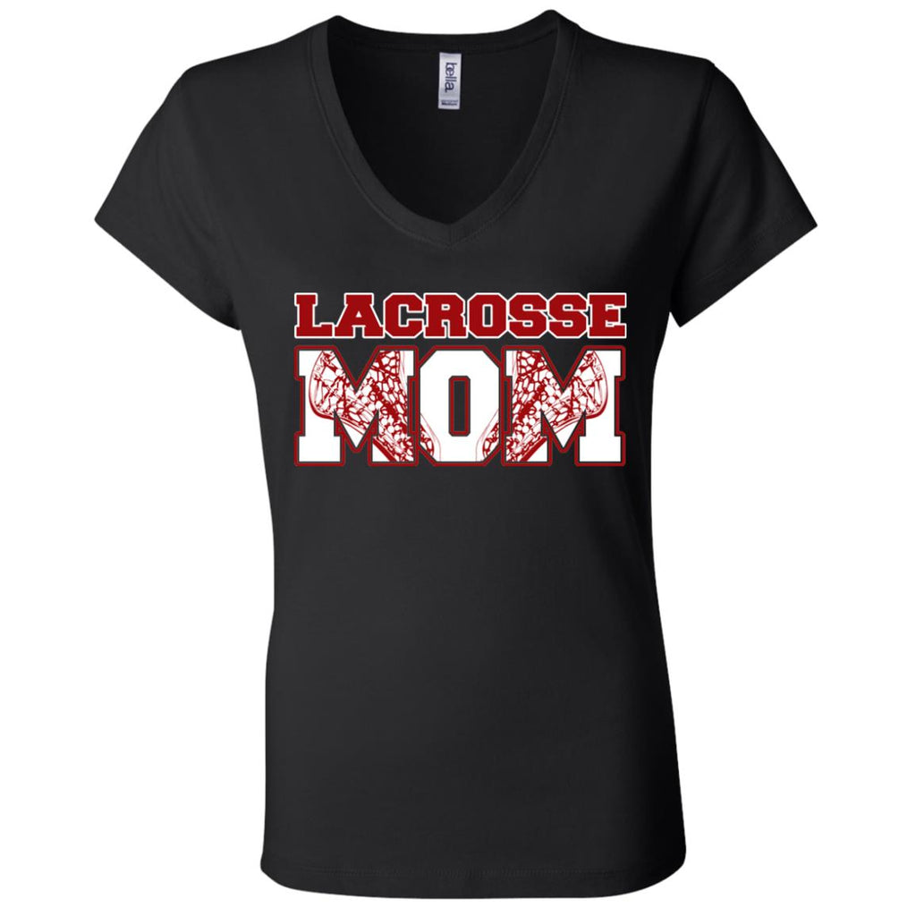 L01 Lacrosse Mom B6005 Ladies' Jersey V-Neck T-Shirt, T-Shirts, Whip Me Wear Fashion & T-Shirts