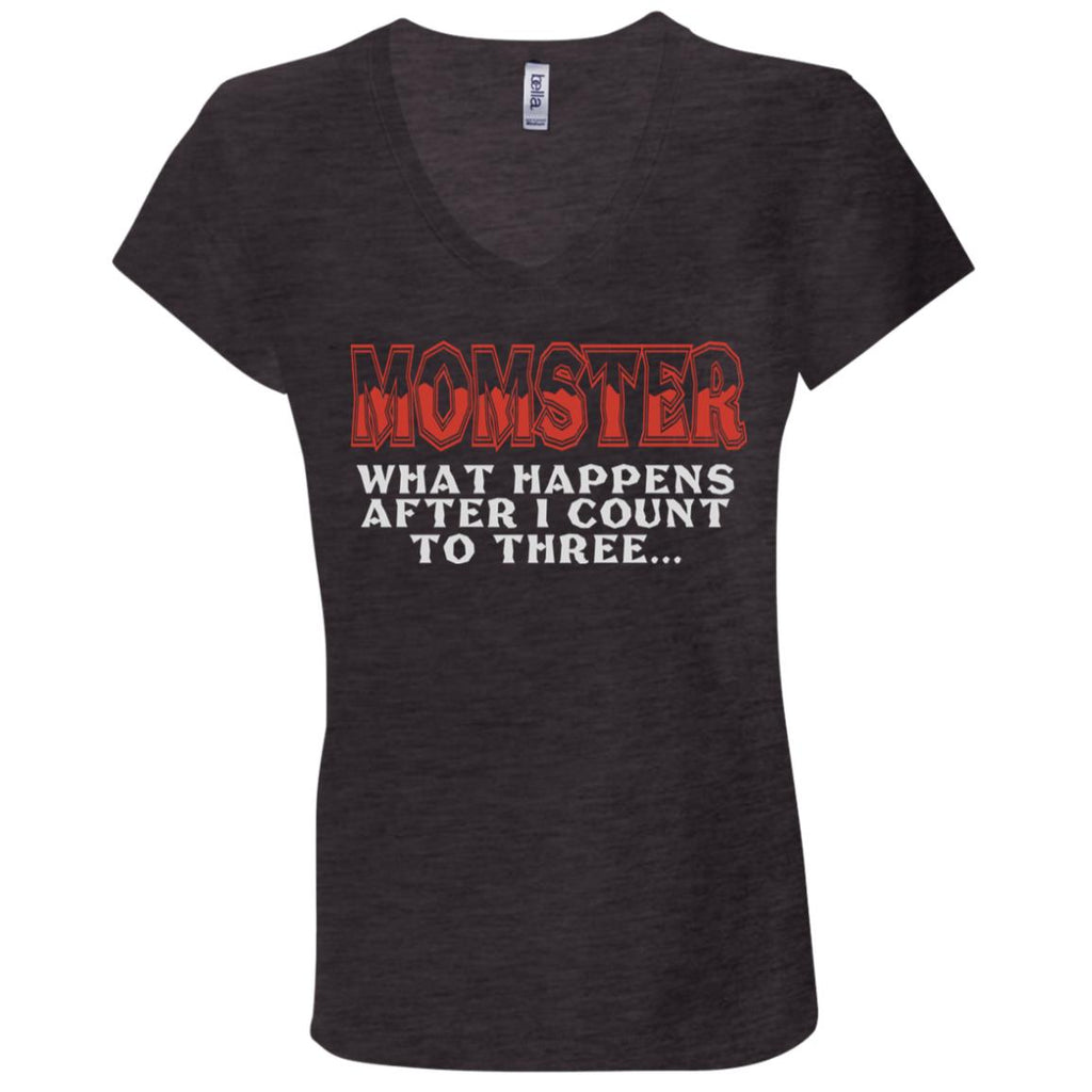 672 Momster Count 3 B6005 Bella + Canvas Ladies' Jersey V-Neck T-Shirt, T-Shirts, Whip Me Wear Fashion & T-Shirts