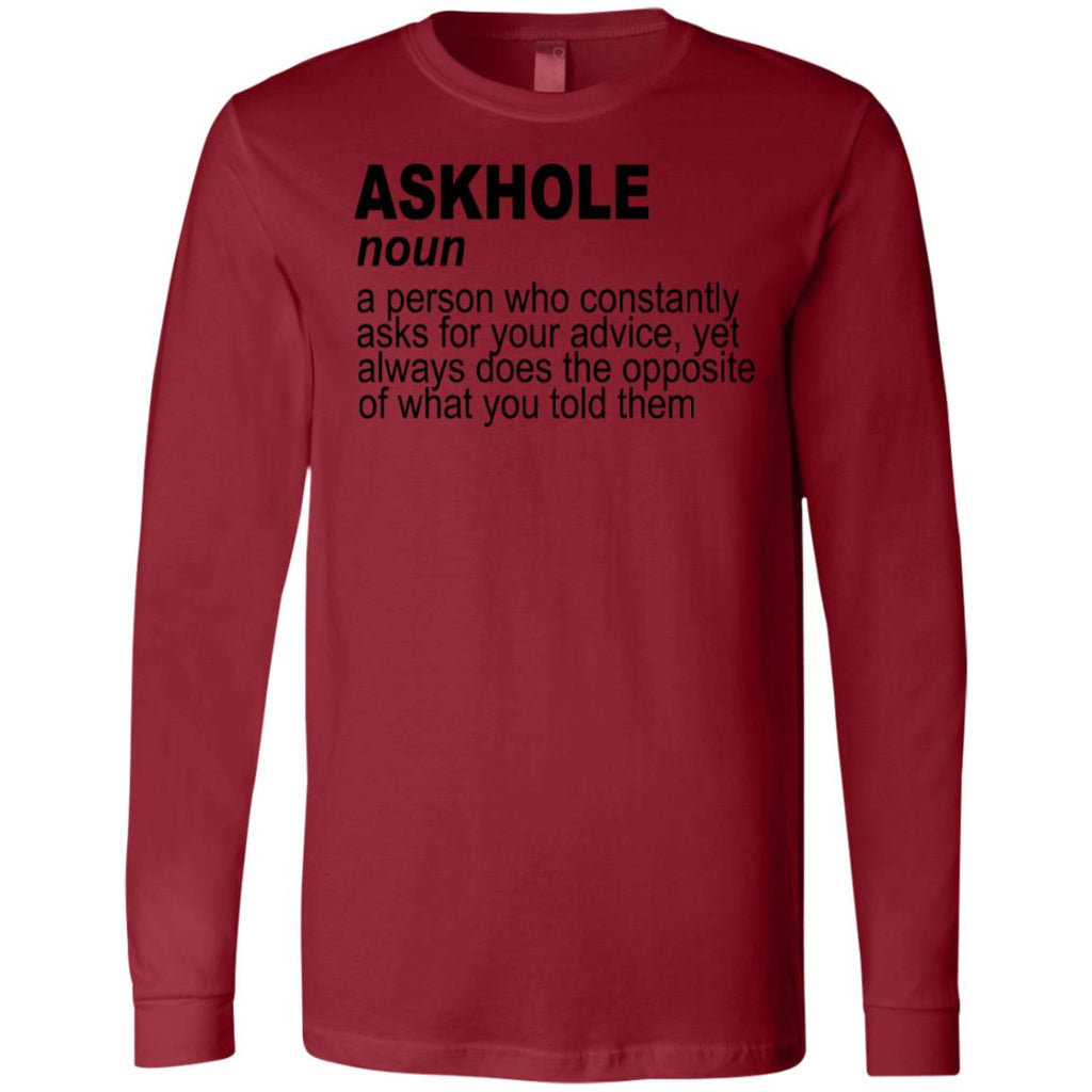 764 Askhole Opposite Advice 3501 Bella + Canvas Men's Jersey LS T-Shirt, T-Shirts, Whip Me Wear Fashion & T-Shirts