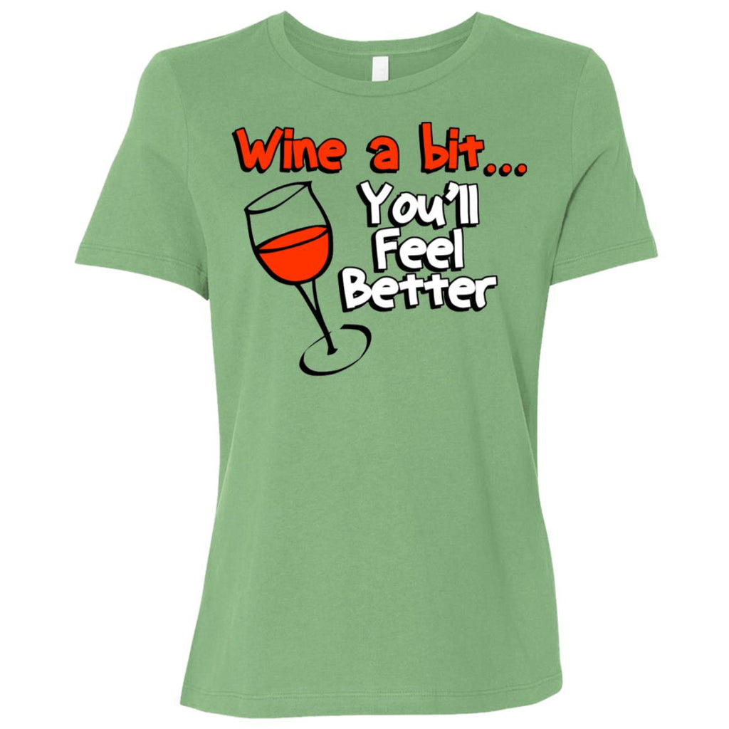 Z06 Wine A Bit B6400 Bella + Canvas Ladies' Relaxed Jersey Short-Sleeve T-Shirt, T-Shirts, Whip Me Wear Fashion & T-Shirts