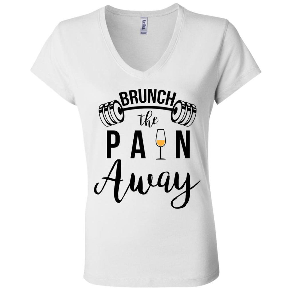 W51 Brunch The Pain Away B6005 Ladies' Jersey V-Neck T-Shirt, T-Shirts, Whip Me Wear Fashion & T-Shirts