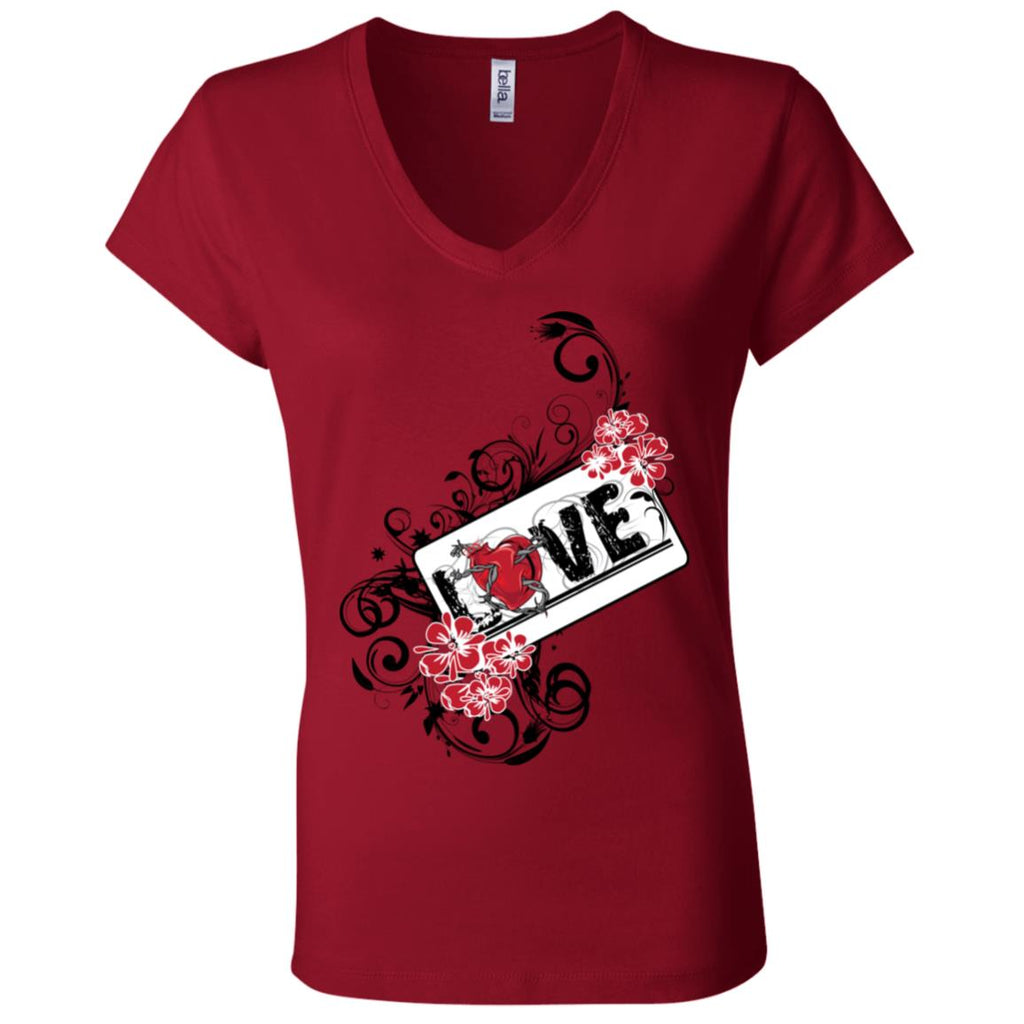 D121 Love B6005 Bella + Canvas Ladies' Jersey V-Neck T-Shirt, T-Shirts, Whip Me Wear Fashion & T-Shirts