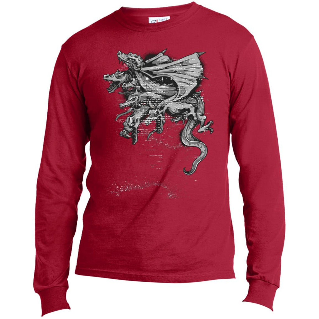 D412 Goth Dragon Heads USA100LS Port & Co. LS Made in the US T-Shirt, T-Shirts, Whip Me Wear Fashion & T-Shirts