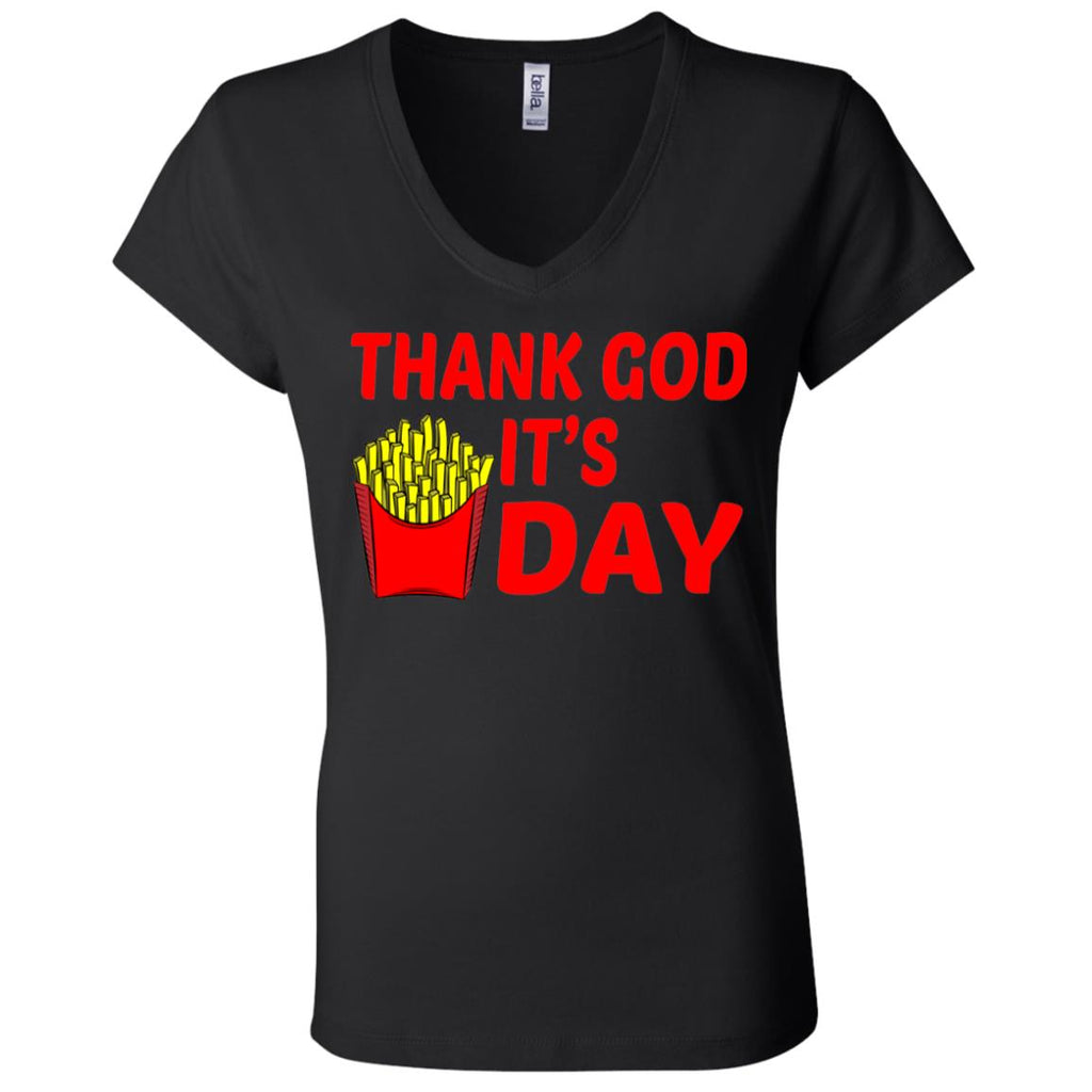 F132 Thank God It's Fryday B6005 Ladies' Jersey V-Neck T-Shirt, T-Shirts, Whip Me Wear Fashion & T-Shirts
