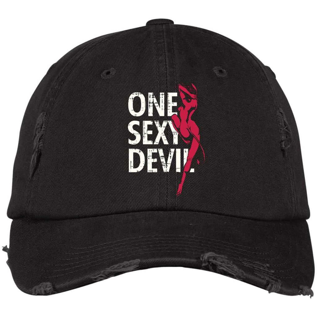 D1341 Sexy Devil DT600 District Distressed Dad Cap, Hats, Whip Me Wear Fashion & T-Shirts