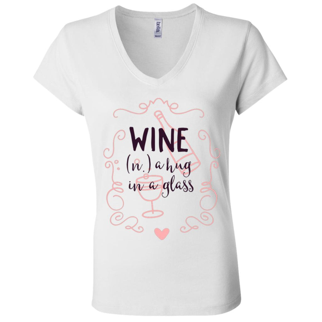 D1306 Wine Hug Glass B6005 Ladies' Jersey V-Neck T-Shirt, T-Shirts, Whip Me Wear Fashion & T-Shirts