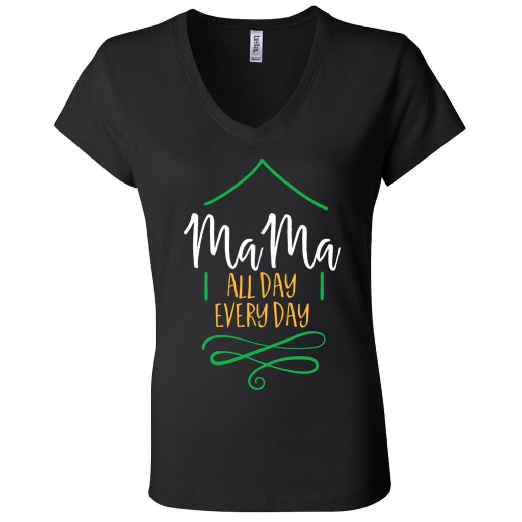 F7 Mama All Day Everyday B6005 Ladies' Jersey V-Neck T-Shirt, T-Shirts, Whip Me Wear Fashion & T-Shirts