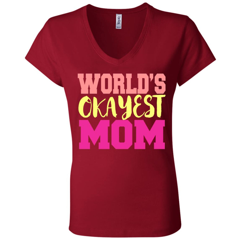 673 Okayest Mom B6005 Bella + Canvas Ladies' Jersey V-Neck T-Shirt, T-Shirts, Whip Me Wear Fashion & T-Shirts