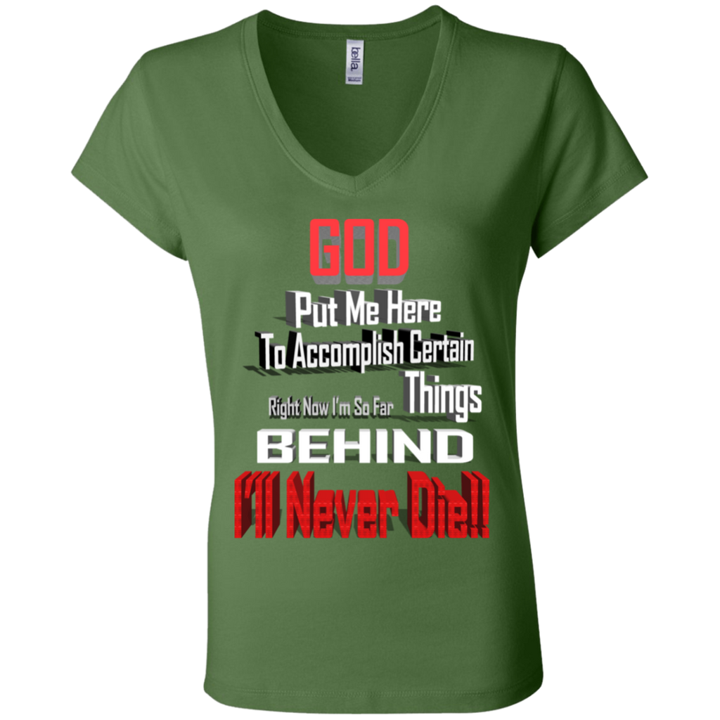 GB1 GOD BEHIND B6005 Bella + Canvas Ladies' Jersey V-Neck T-Shirt, T-Shirts, Whip Me Wear Fashion & T-Shirts
