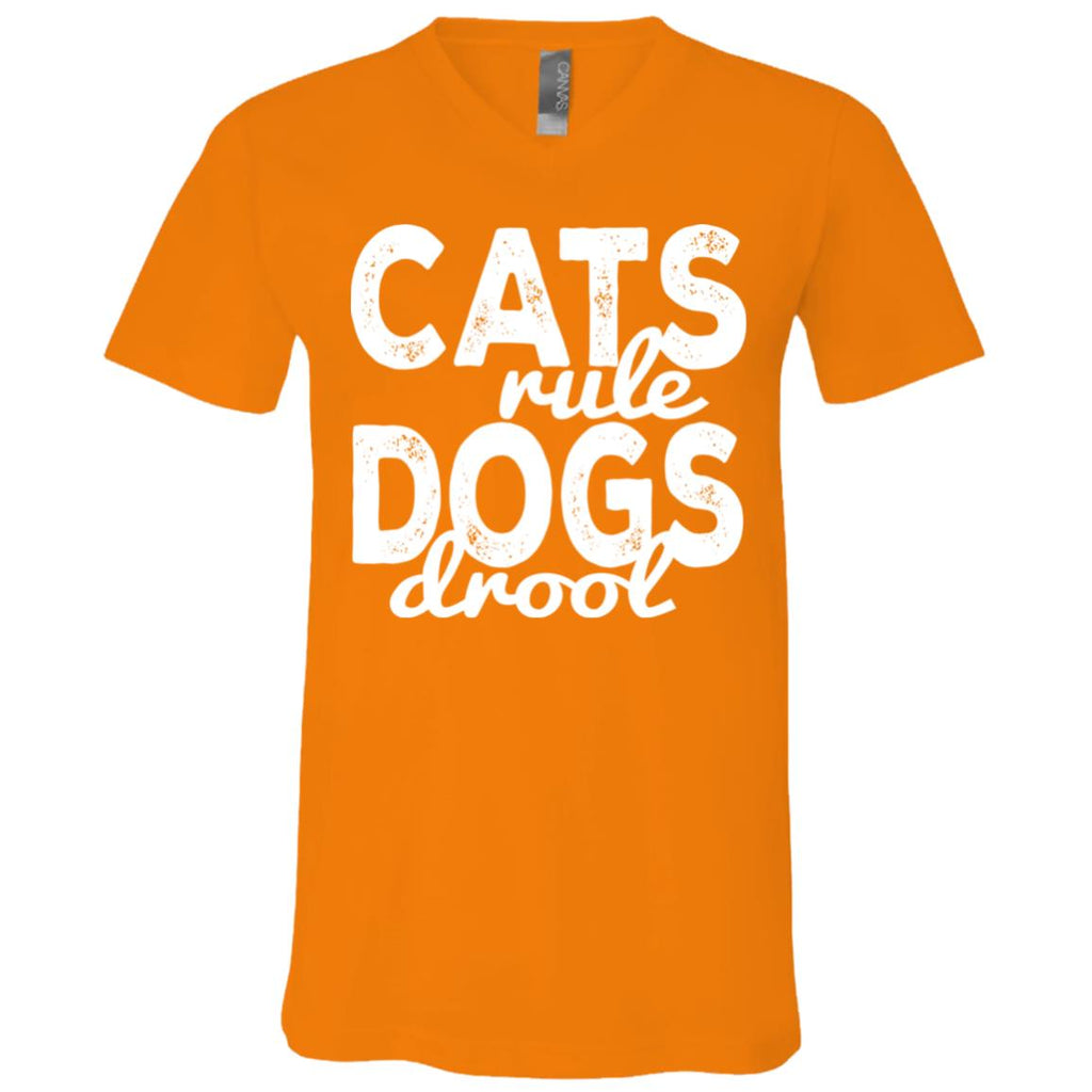 87 Cats Rule Dogs Drool 3005 Bella + Canvas Unisex Jersey SS V-Neck T-Shirt, T-Shirts, Whip Me Wear Fashion & T-Shirts