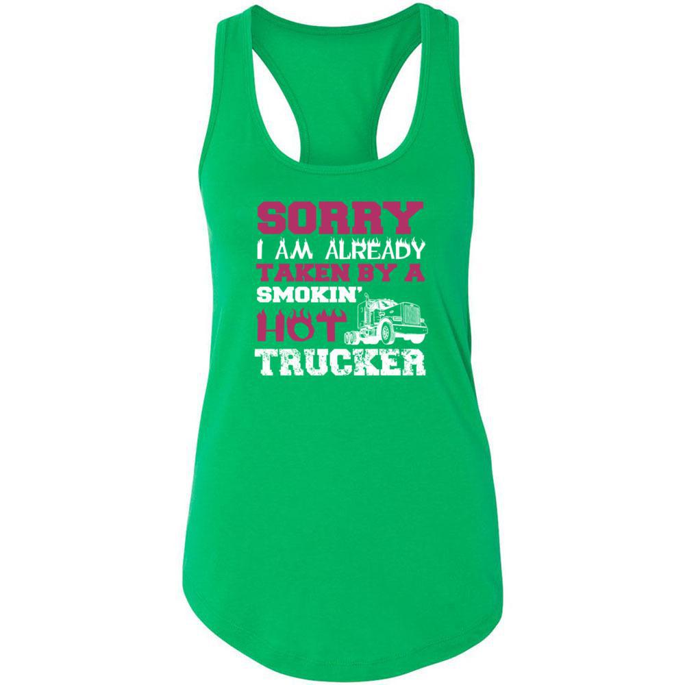 This Girl Taken By A Smokin Hot Trucker -Next Level - Women's Ideal Racerback Tank, Tank Tops, Whip Me Wear Fashion & T-Shirts