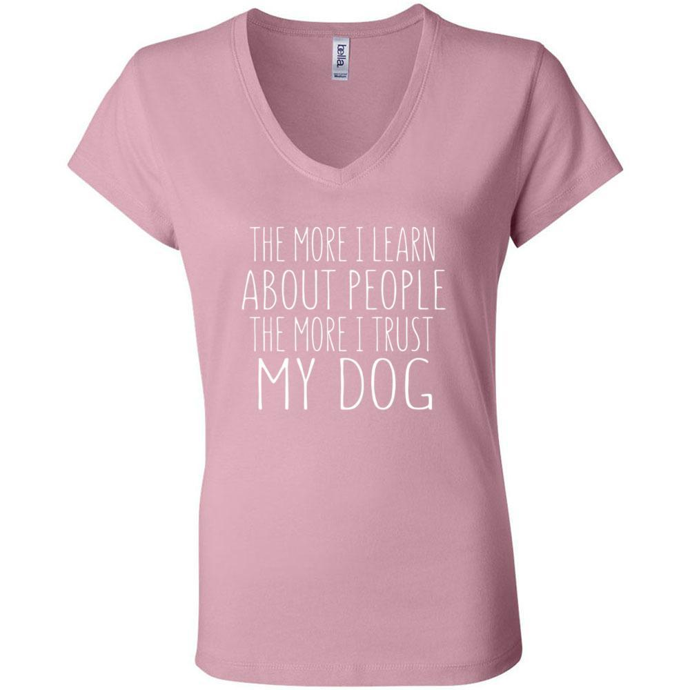 The More I Trust My Dog Bella Canvas - Women's Short Sleeve Jersey V-Neck Tee, T-Shirts, Whip Me Wear Fashion & T-Shirts
