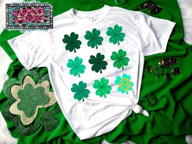 LUCKY CLOVERS WITH MONOGRAM Graphic Tee