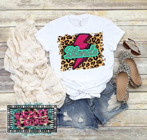 BLONDE LEOPARD LIGHTENING BOLT Graphic Tee