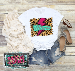 MAMA LEOPARD LIGHTENING BOLT Graphic Tee