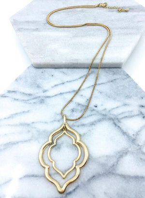 Double Quatrefoil Gold Necklace