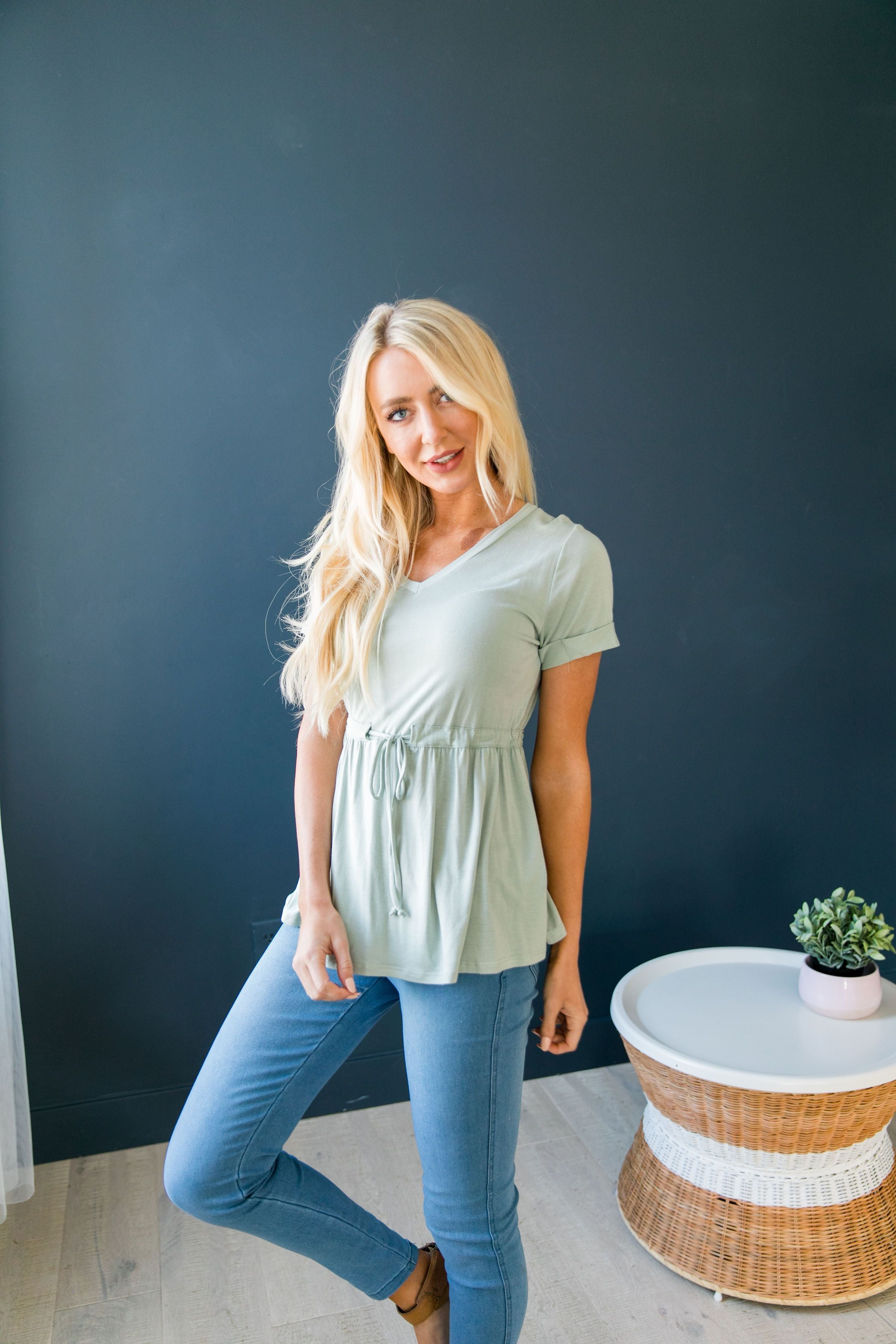 Figure Flattering V-Neck In Soft Sage