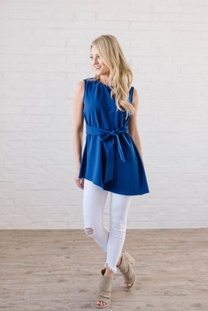 Astor Asymmetric Hem Top In Royal Blue