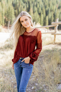 Autumn Affairs Of The Heart Top In Burgundy