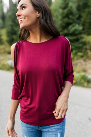 Cold Shoulders Warm Heart Top in Burgundy