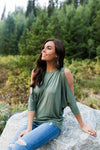 Cold Shoulders Warm Heart Top in Olive