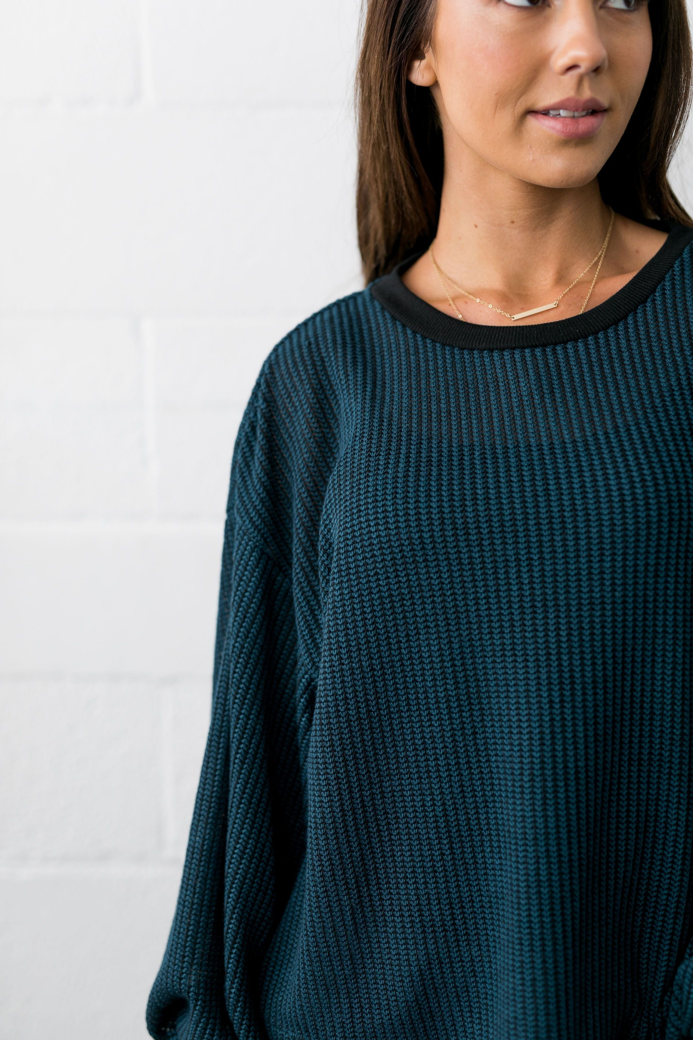 Crocheted Balloon Sleeve Sweater In Teal - ALL SALES FINAL