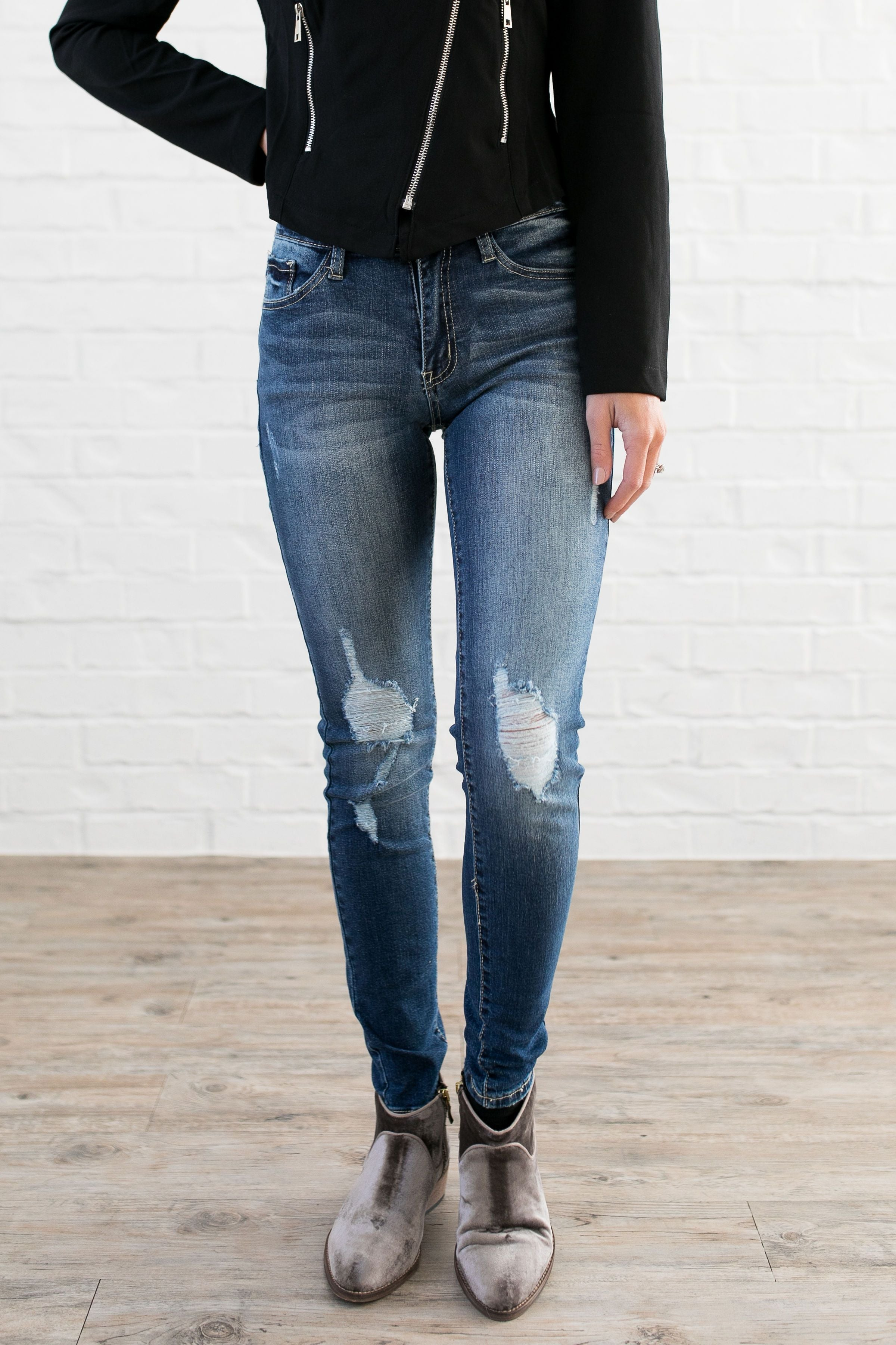 Damaged Goods Faded Skinny Jeans - ALL SALES FINAL