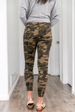 Distressed Mid Rise Camo Jeans - ALL SALES FINAL