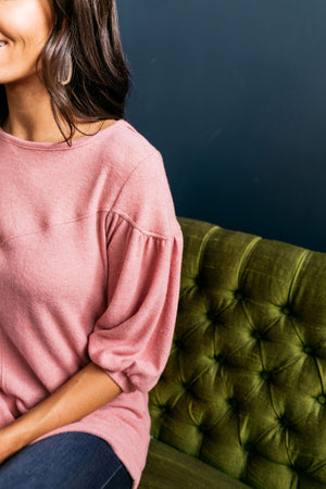 Double Bubble Brushed Knit Top In Dusty Rose