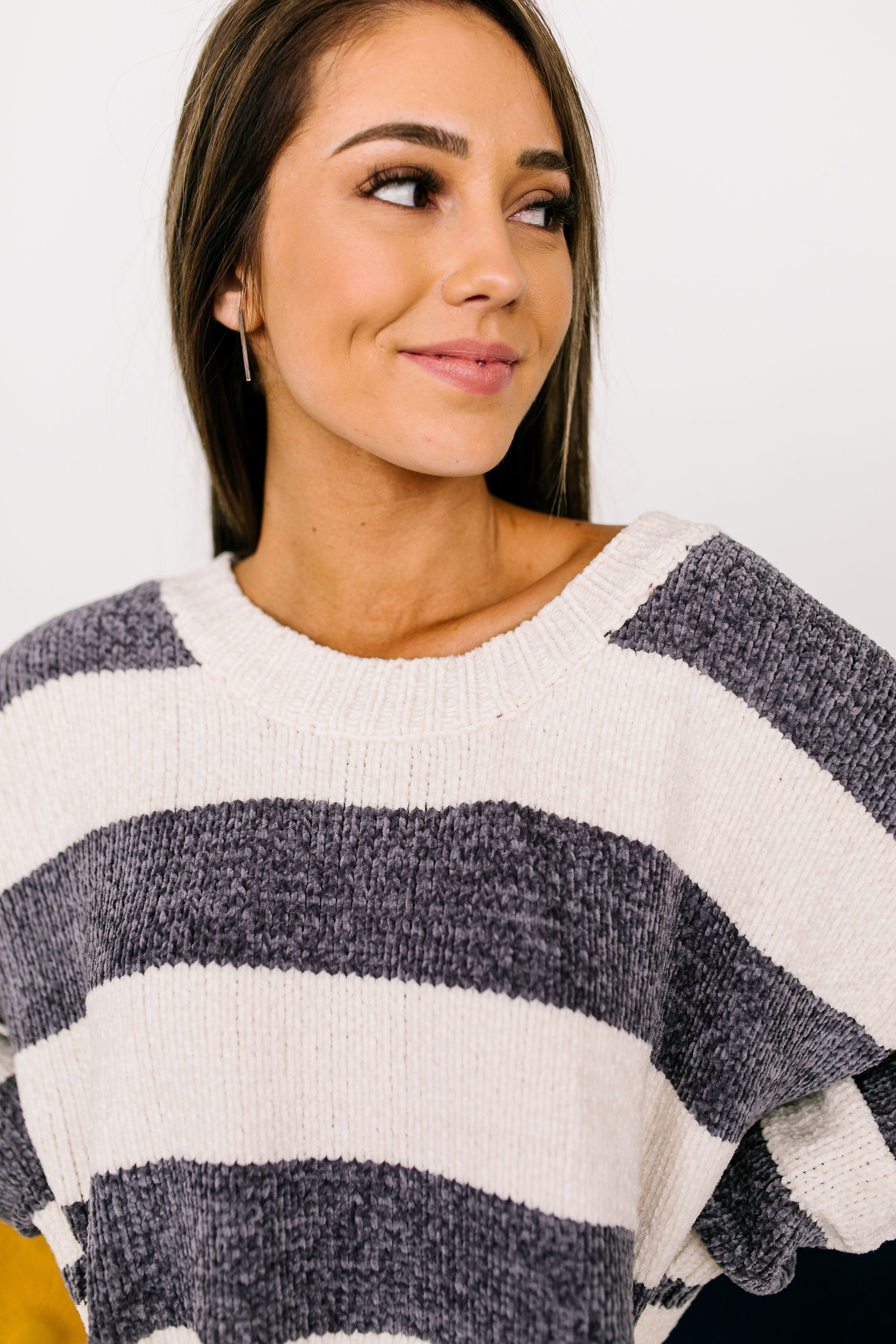 Flashback Friday Night Striped Sweater In Charcoal - ALL SALES FINAL