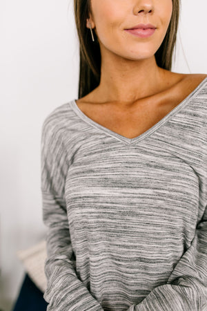 Footloose And Fancy Free Gray V-Neck