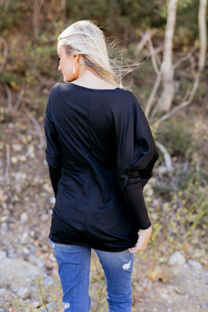 From Daycare To Date Night Top in Black