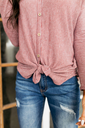 Pretty Pinstriped Button-Down In Burgundy + Gray