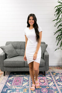 Ruched T-Shirt Dress In Ivory