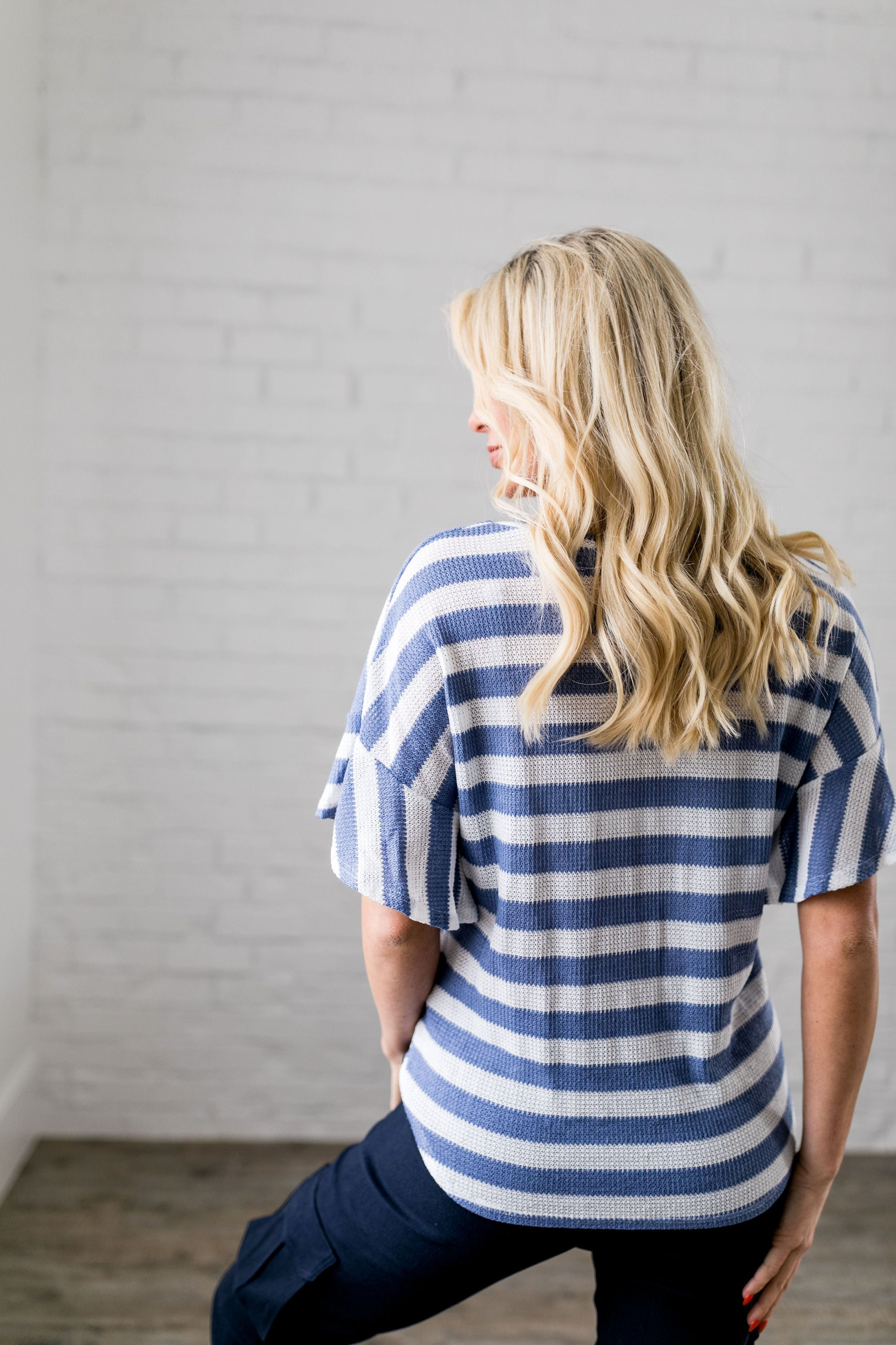 Ruffles + Ties Striped Top