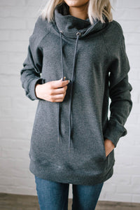 Sunday Funday Cowl Neck Sweatshirt in Charcoal Gray