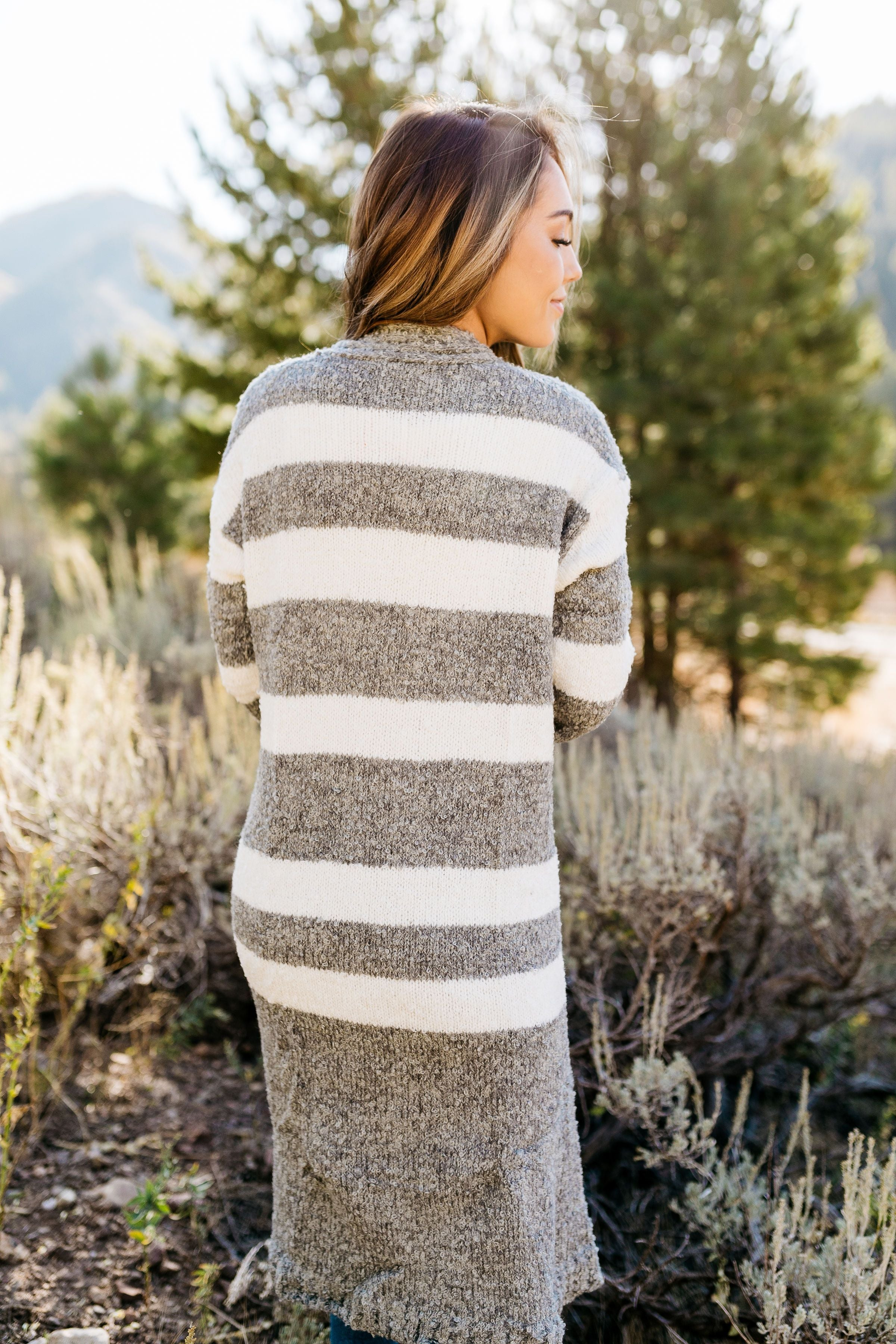 The Amelia Striped Cardi in Gray - ALL SALES FINAL