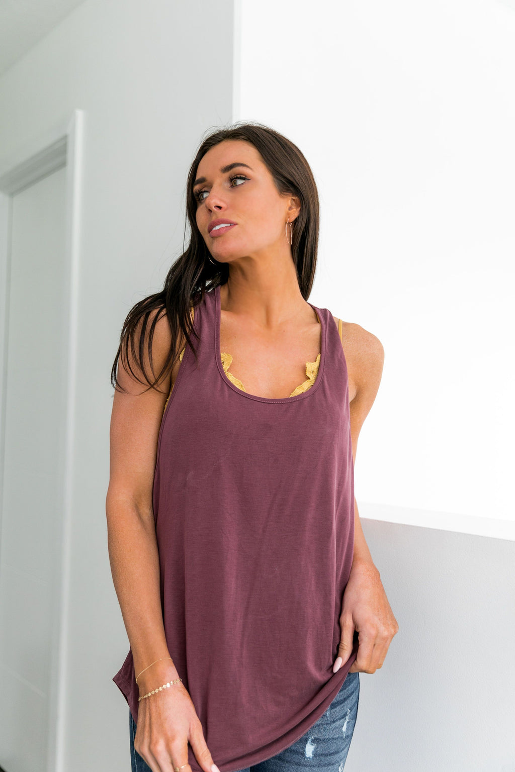 Twisted Sister Tank In Burgundy
