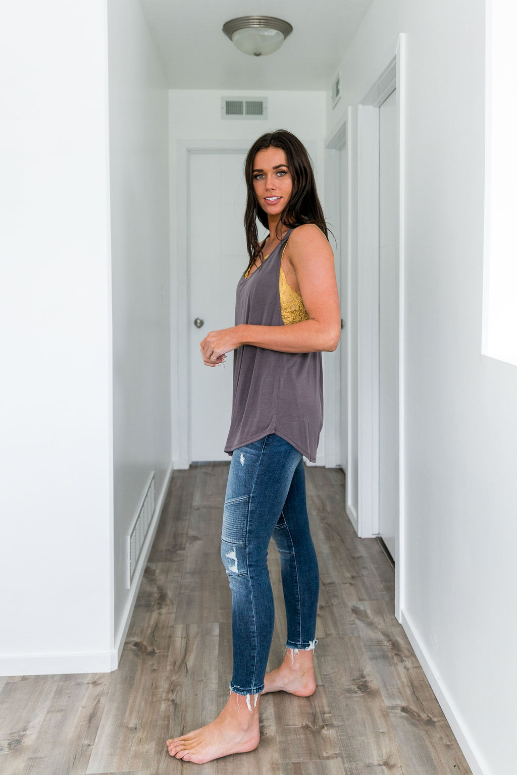 Twisted Sister Tank In Dusty Plum