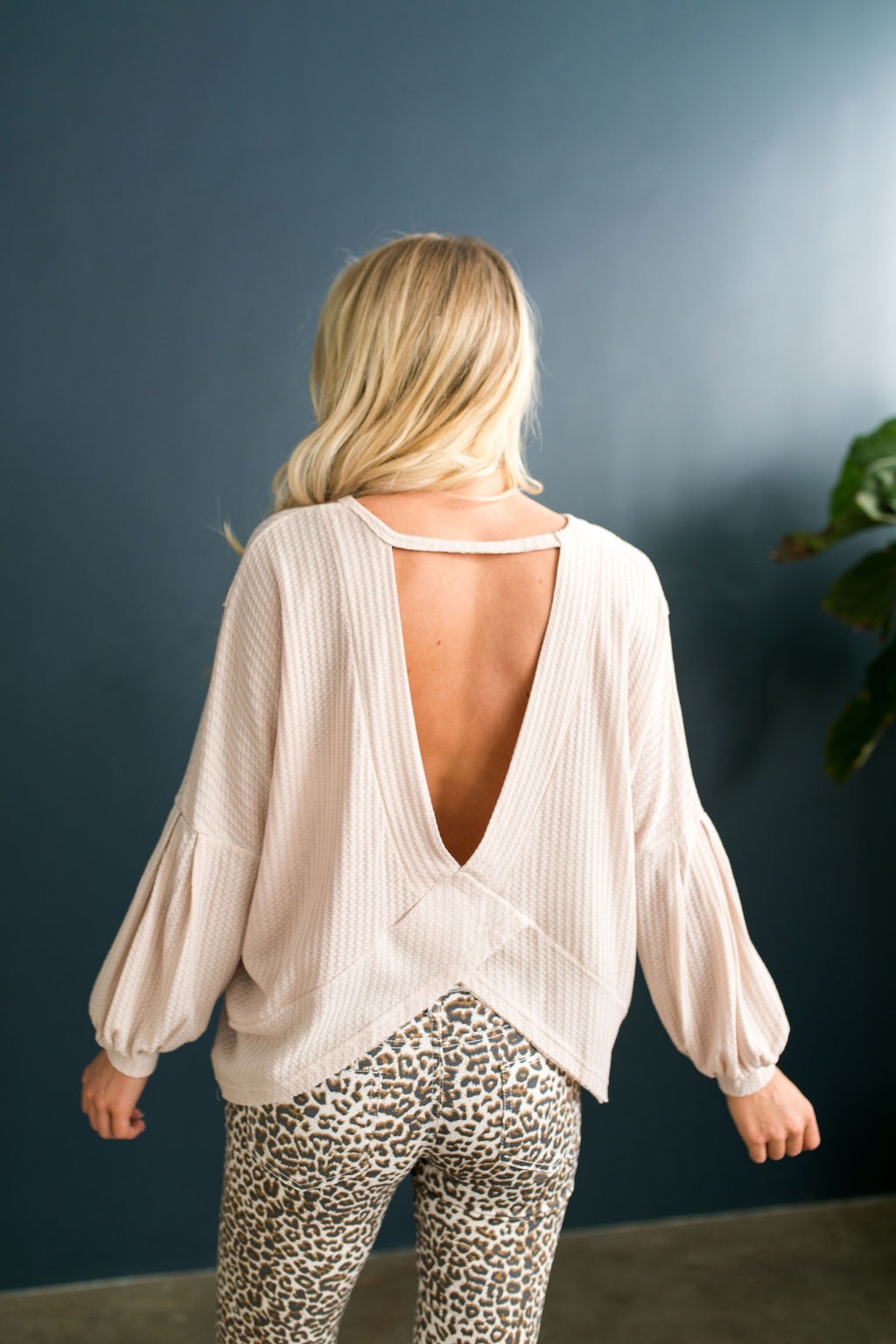 Waffle Knit Cross Back Top In Nude - ALL SALES FINAL