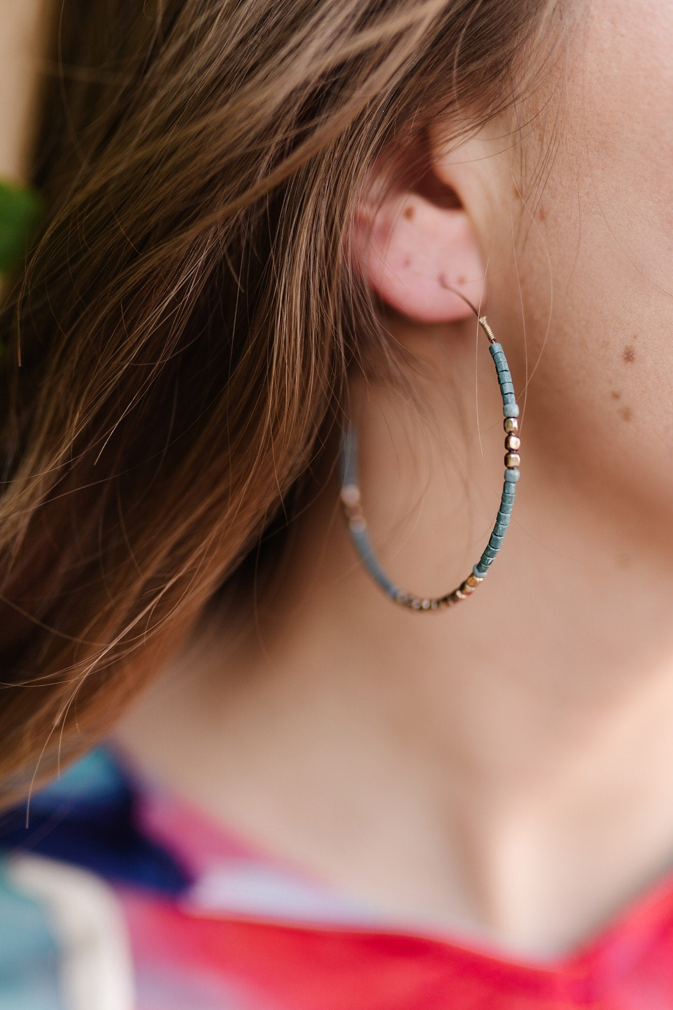 The Perfect Touch Gold and Turquoise Hoop Earrings-One Size Fits Most-[option4]-[option5]-[option6]-[option7]-[option8]-Womens-Clothing-Shop