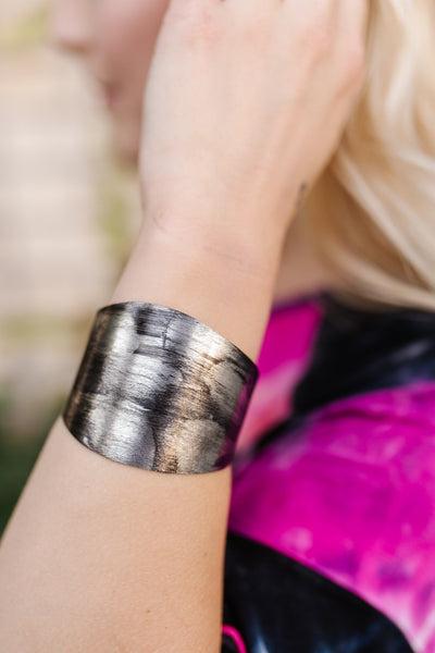Black and Pewter Brushed Metal Cuff-One Size Fits Most-[option4]-[option5]-[option6]-[option7]-[option8]-Womens-Clothing-Shop
