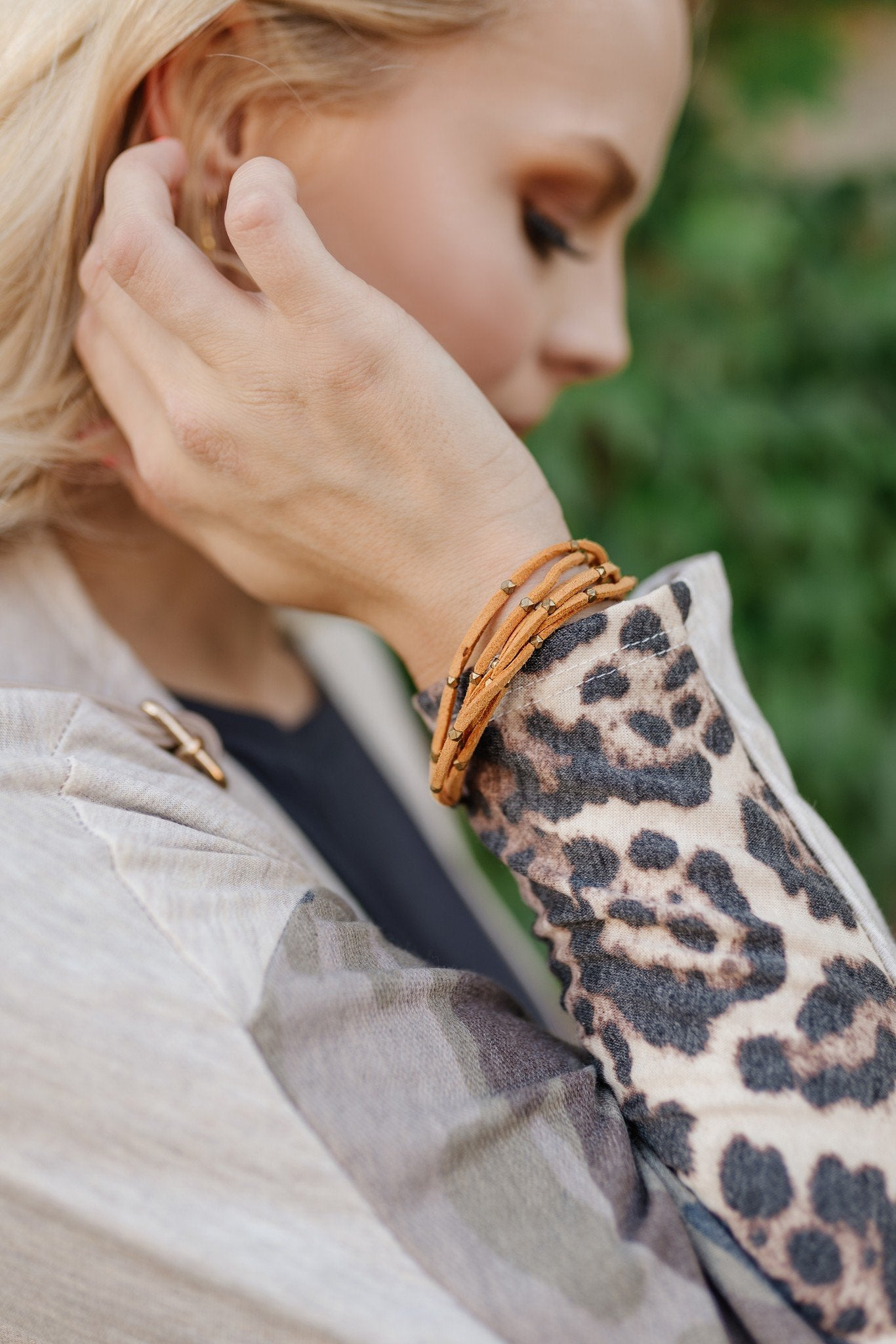 Faux Suede Corded Bracelet with Antique Gold Accents-Pumpkin-[option4]-[option5]-[option6]-[option7]-[option8]-Womens-Clothing-Shop