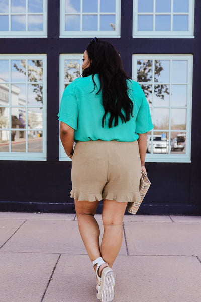 Ruffly Speaking Shorts In Khaki-[option4]-[option5]-[option6]-[option7]-[option8]-Womens-Clothing-Shop