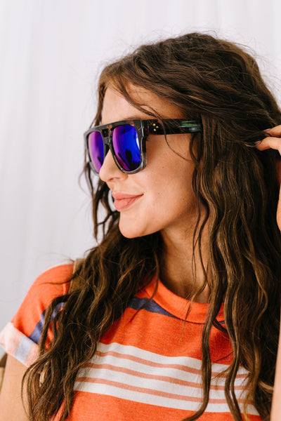 Tortoise & The Hair Mirrored Sunglasses-[option4]-[option5]-[option6]-[option7]-[option8]-Womens-Clothing-Shop