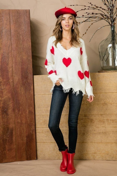 Red Heart Print Distressed V Neck Sweater-[option4]-[option5]-[option6]-[option7]-[option8]-Womens-Clothing-Shop