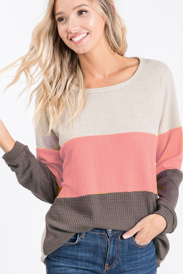 Color Block Thermal Waffle Knit Pullover